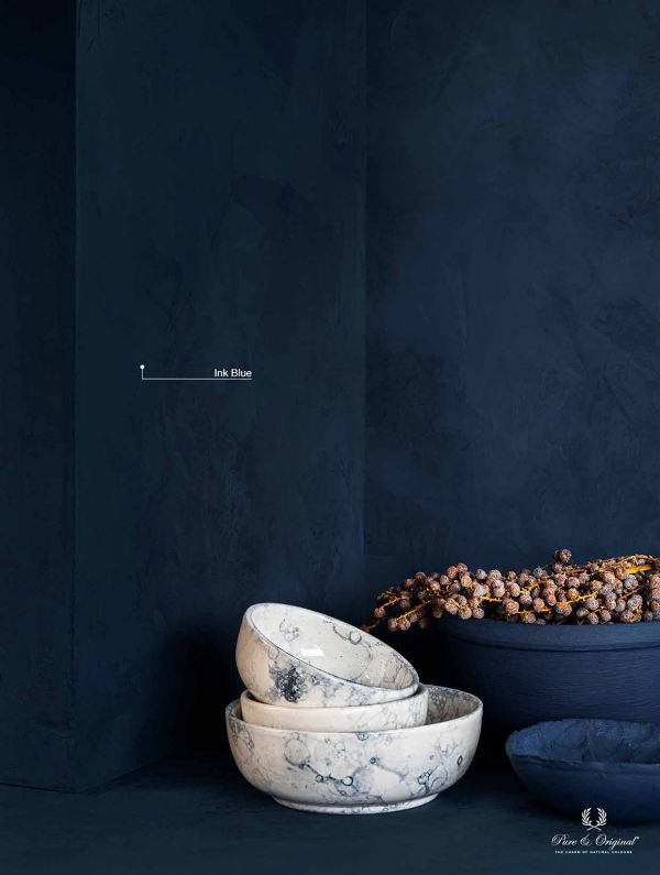 Ink Blue, a dark blue tint which creates endless depth. Combine with white marble and dried flowers
