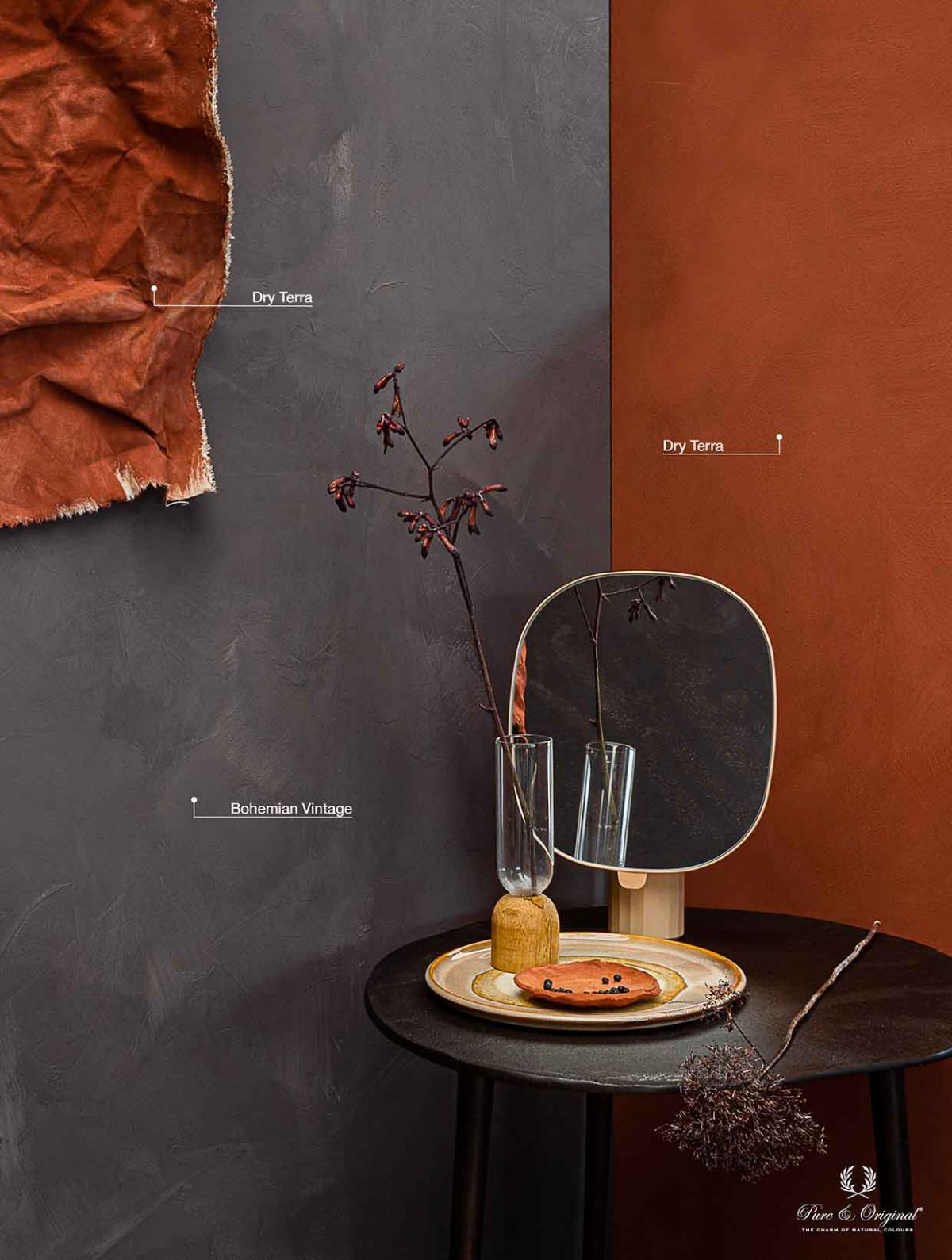 Bohemian Vintage, a warm purple-ish grey colour. Combined with warm terracotta Dry Terra
