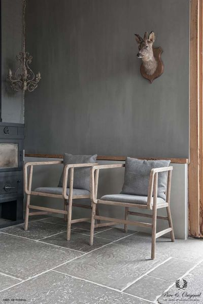 Fresco lime paint in the colour Cannonball, applied behind the chairs