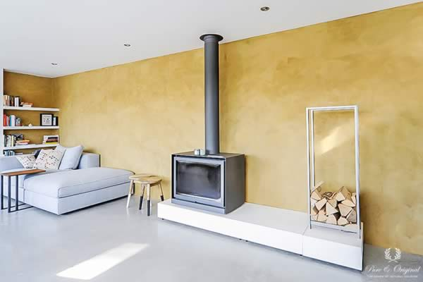 Marrakech Walls in the colour Provincial Gold, applied in the living