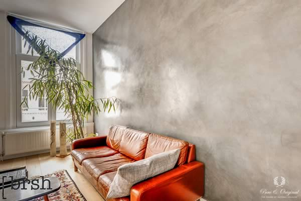 Marrakech Walls in the colour Tin Kettle with polished Italian Wax, applied behind the couch