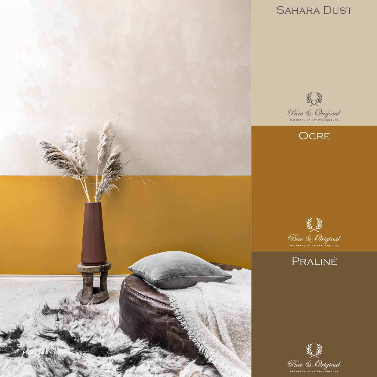 Warm ocre, brown and beige