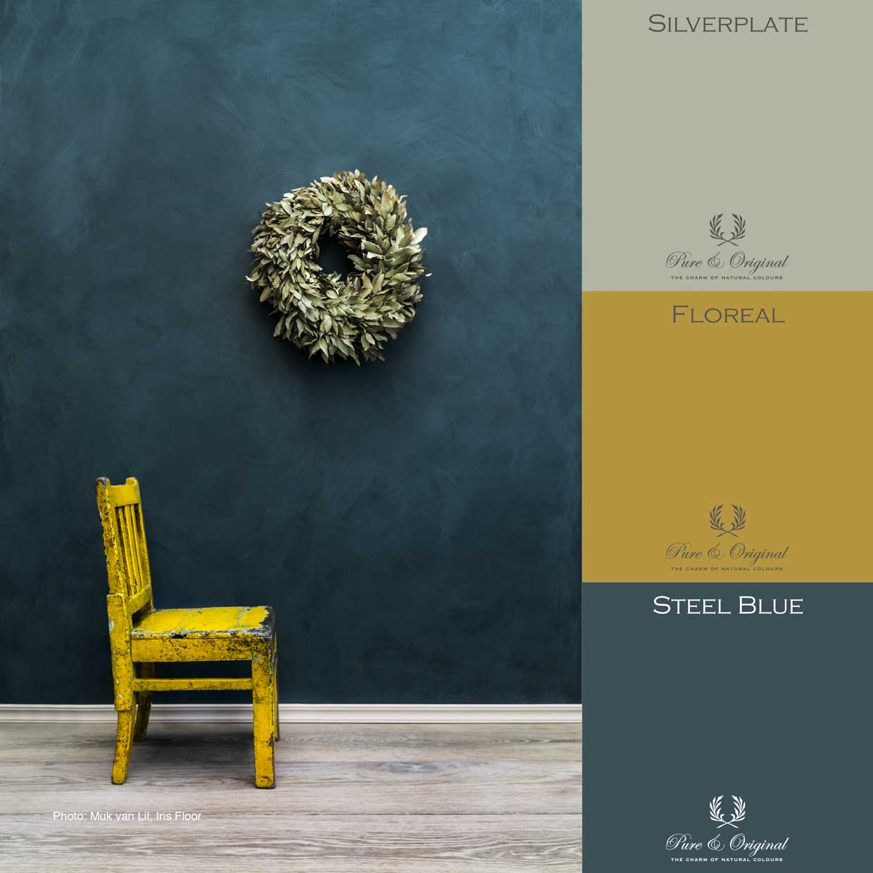 Blue concrete look with yellow accent