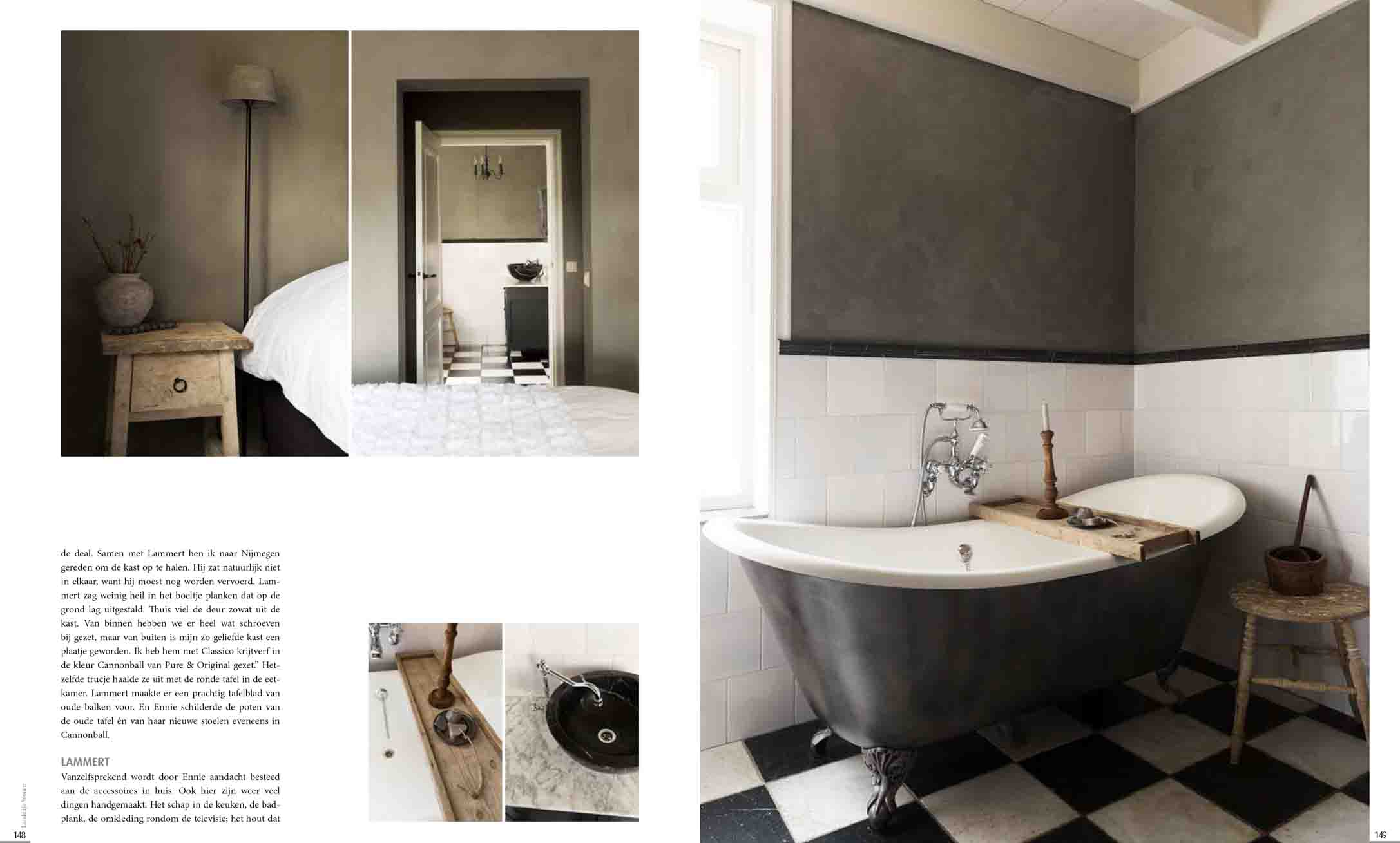 The bathroom and bedroom in black, white and grey